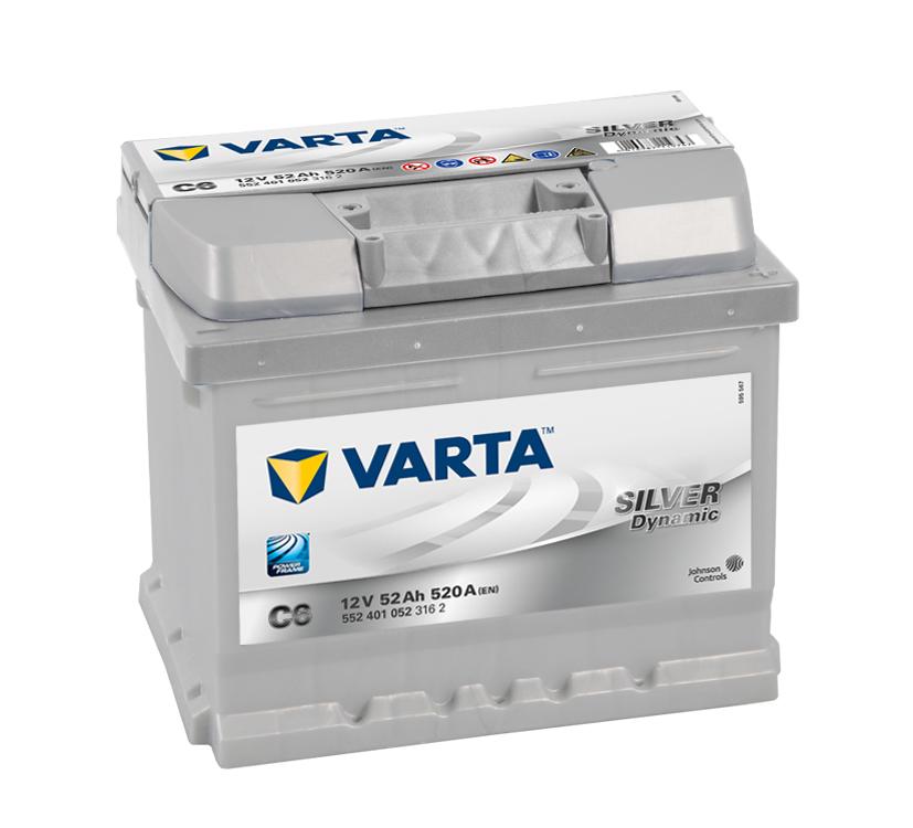VARTA C6 52 Ah 520 A 0 (- +) 207x175x175