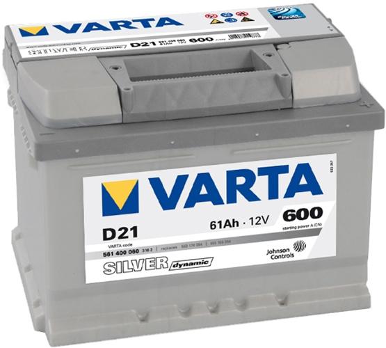 VARTA D21 61 Ah 600 A 0 (- +) 242x175x175