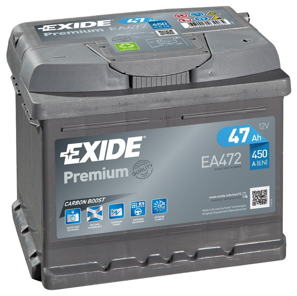EXIDE EA472 PREMIUM 47Ah 450A (- +) 207x175x175