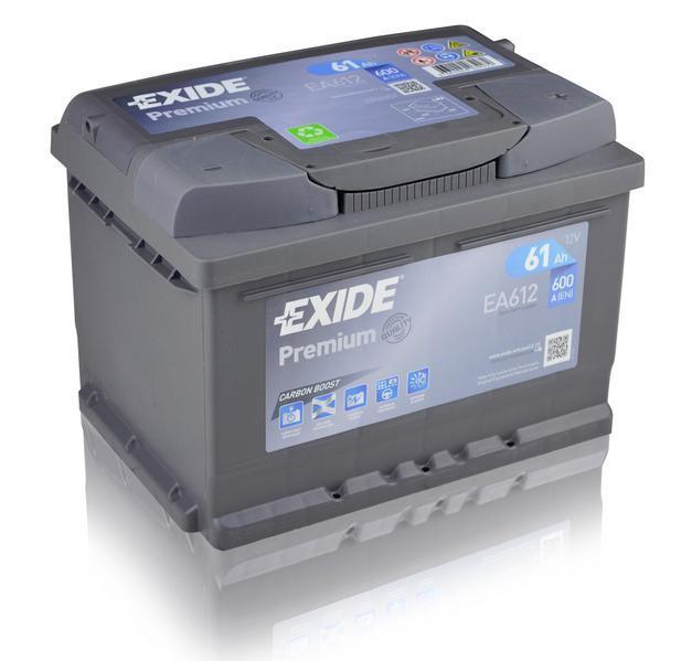 EXIDE EA612 PREMIUM 61Ah 600A (- +) 242x175x175