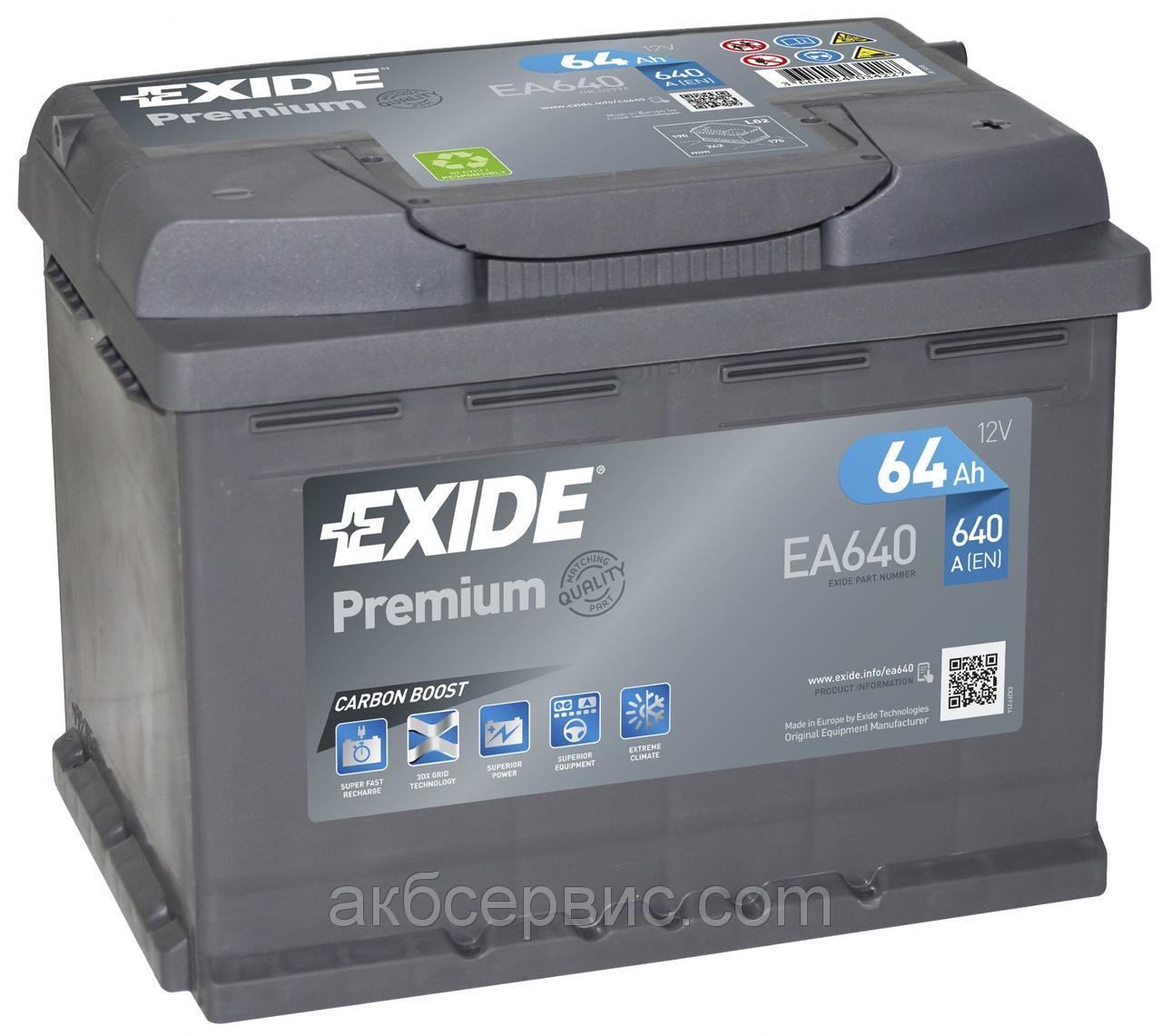 EXIDE EA640 PREMIUM 64Ah 640A (- +) 242x175x190