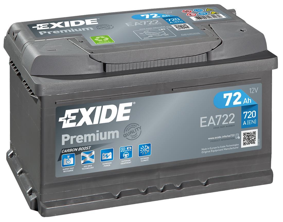 EXIDE EA722 PREMIUM 72Ah 720A (- +) 278x175x175