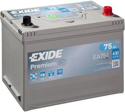 EXIDE EA754 PREMIUM 75Ah 630A (- +) 270x173x222