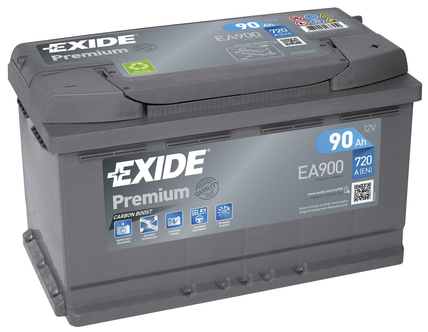 EXIDE S106-EA900 PREMIUM 90Ah 720A (- +) 315x175x190