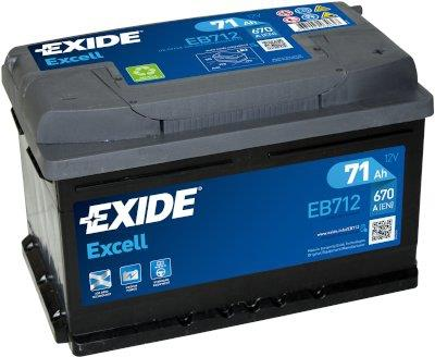 EXIDE S106-EB712 EXCELL 71Ah 670A (- +) 278x175x175