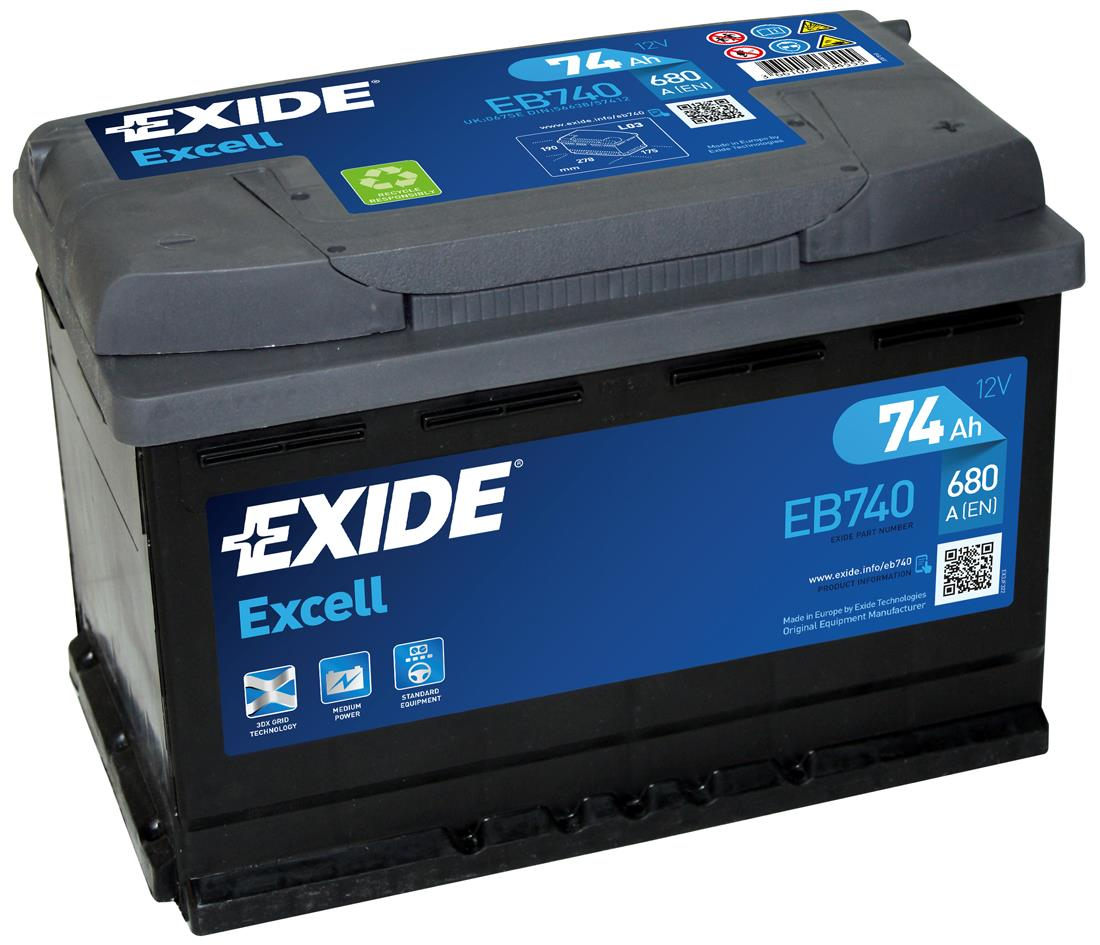 EXIDE EB740 EXCELL 74Ah 680A (- +) 278x175x190
