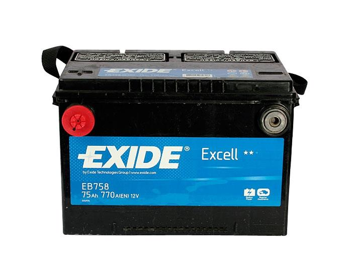 EXIDE EB758 EXCELL 75Ah 770A (+ -) 260x180x186