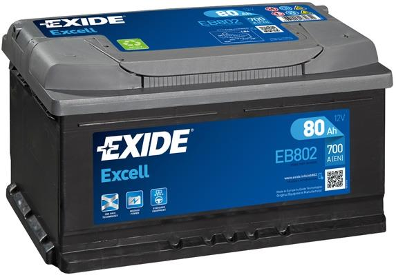 EXIDE EB802 EXCELL 80Ah 700A (- +) 315x175x175