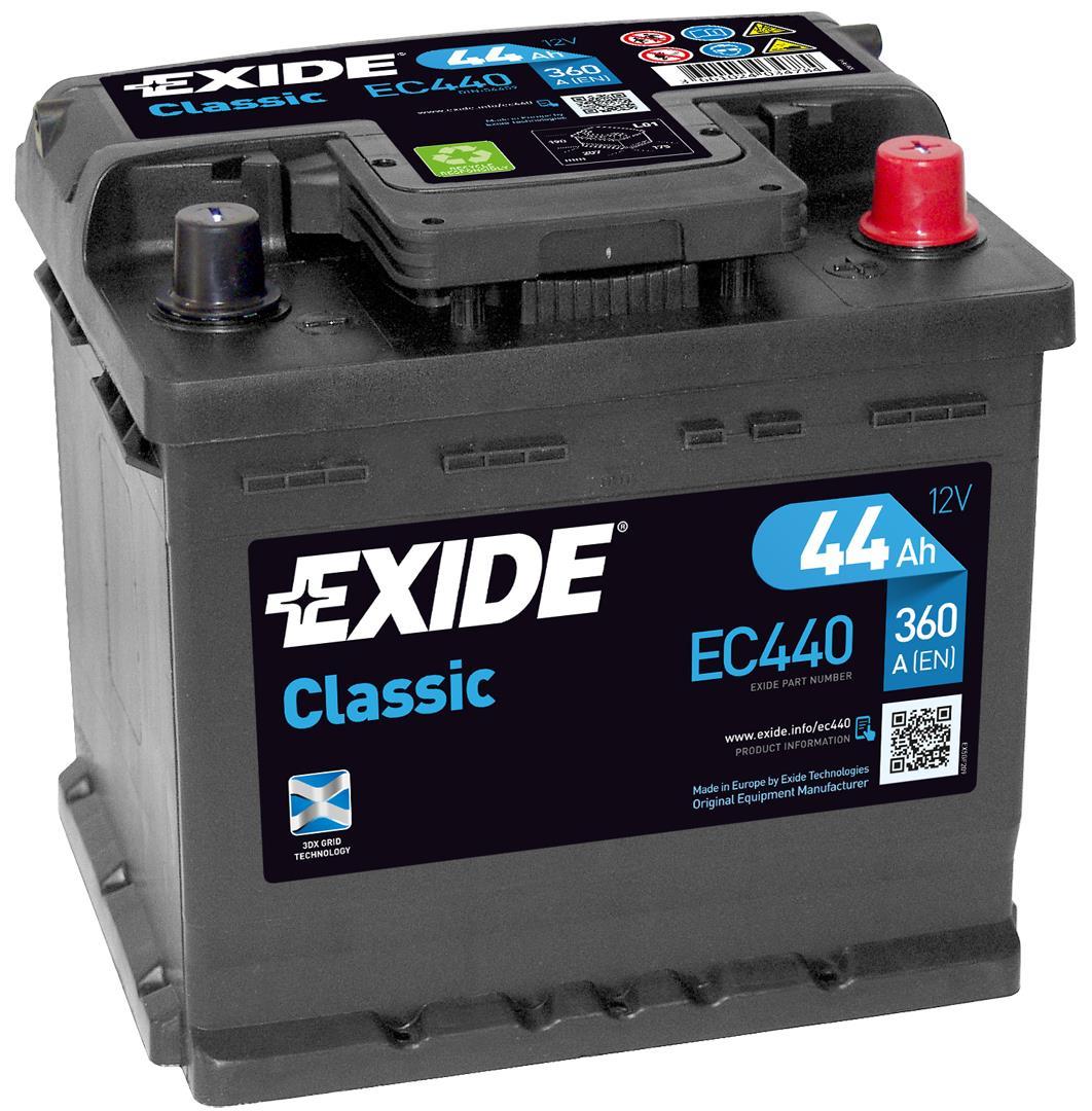 EXIDE EC440 CLASSIC 44Ah 360A (- +) 207x175x190