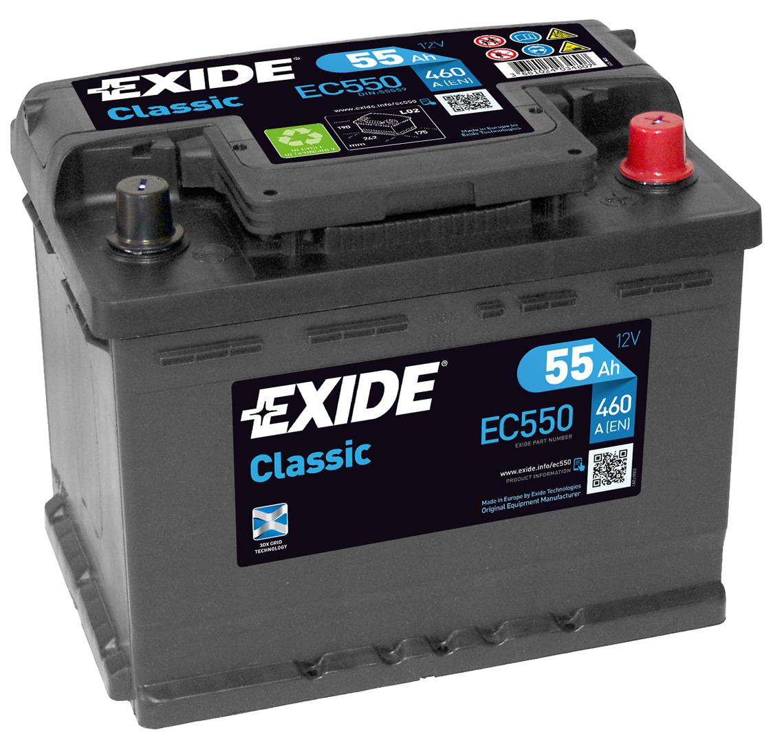 EXIDE EC550 CLASSIC 55Ah 460A (- +) 242x175x190