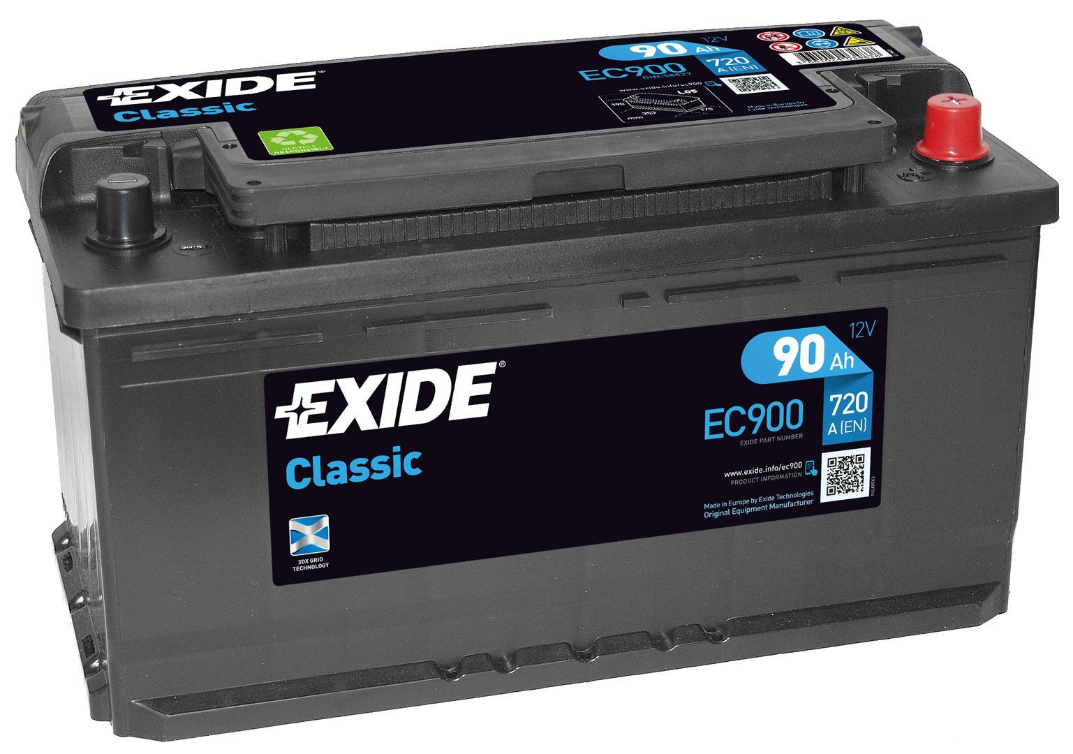 EXIDE S106-EC900 CLASSIC 90Ah 720A (- +) 353x175x190