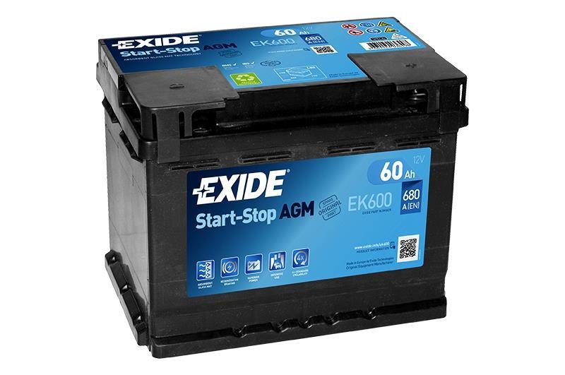 EXIDE EK600 AGM 60Ah 680A (- +) 242x175x190