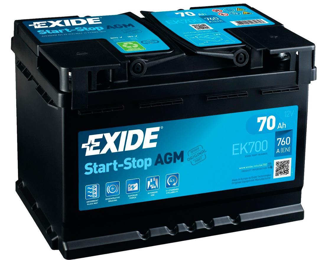 EXIDE EK700 AGM 70Ah 760A (- +) 278x175x190