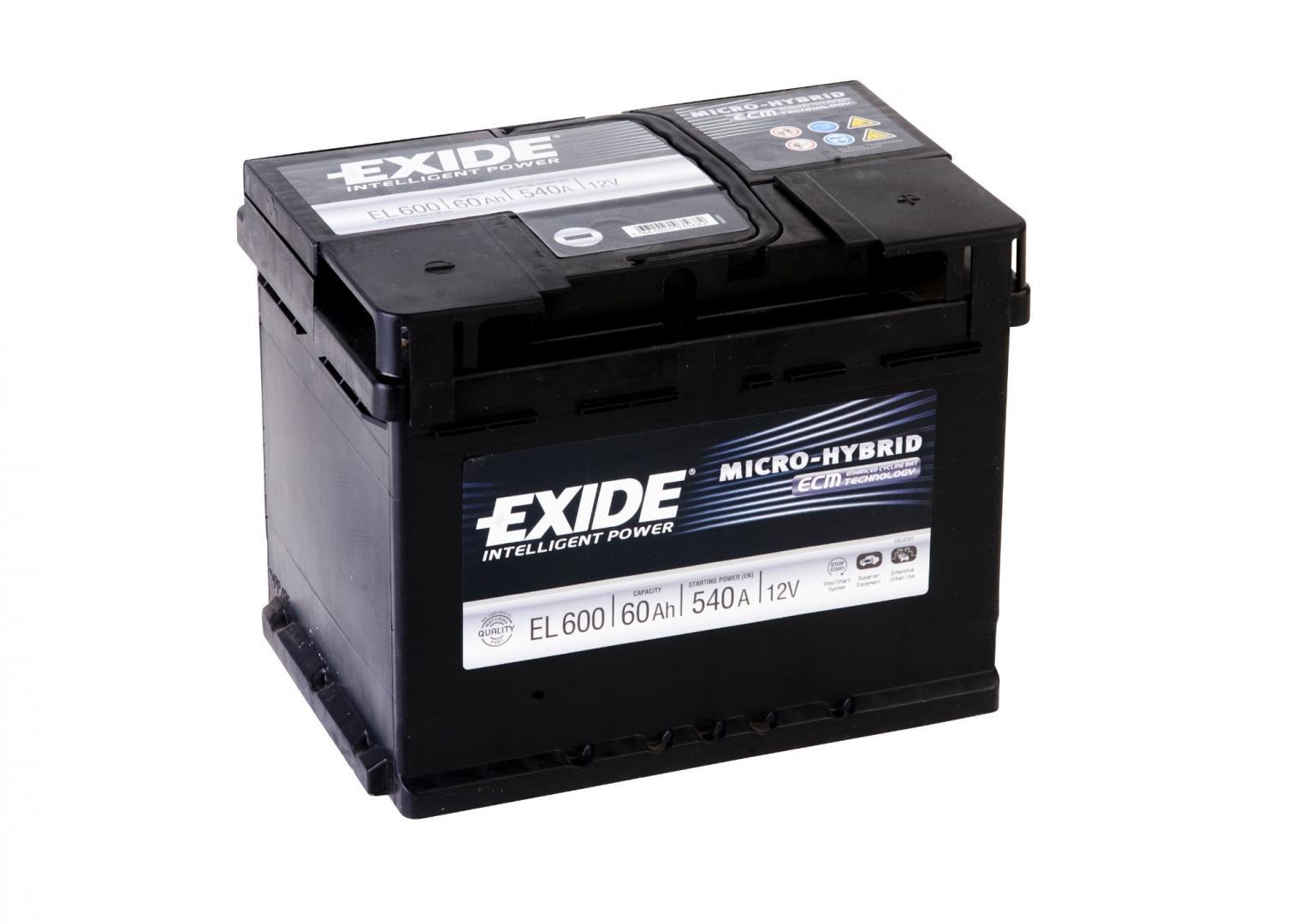 EXIDE EL600  ECM (EFB) 60Ah 540A (- +) 242x175x190