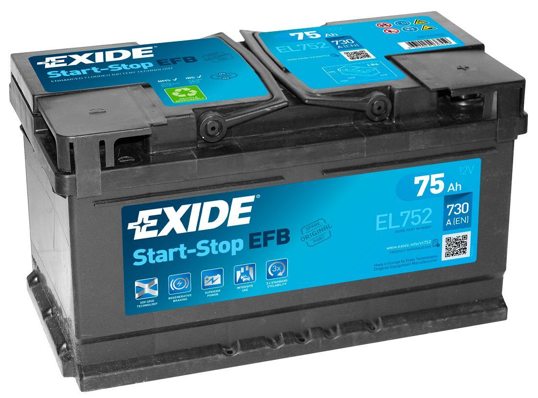 EXIDE EL752  ECM (EFB) 75Ah 730A (- +) 315x175x175