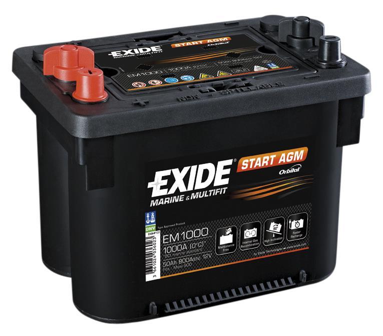 EXIDE EM1000 AGM 50Ah 900A (+ -) 260x172x205