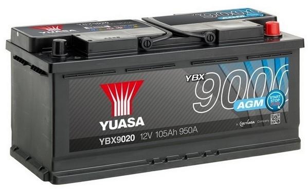 YUASA YBX9020 105Ah 950A  AGM Start Stop Plus  0(- +) 393x175x190